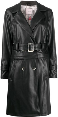 Urban Code Belted Faux-Leather Trench Coat