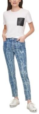 DKNY Snake Print Skinny Jeans