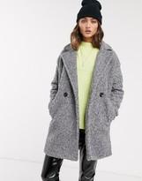 Bershka boucle coat in gray