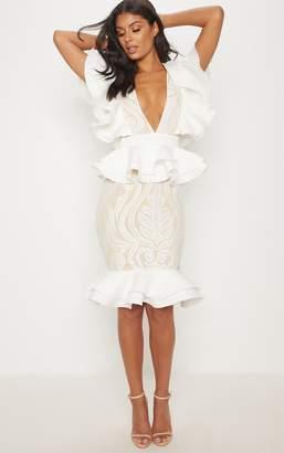 PrettyLittleThing White Ruffle Detail Plunge Midi Dress
