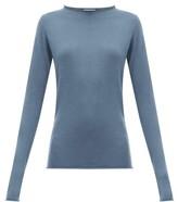 Raey Sheer Raw-edge Crew-neck Cashmere Sweater - Womens - Blue