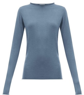 Raey Sheer Raw-edge Crew-neck Cashmere Sweater - Blue