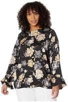 Vince Camuto Specialty Size Plus Size Long Sleeve Enchanted Floral Flutter Cuff Mock Neck Blouse (Rich Black) Women's Clothing