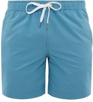 Onia Charles Striped Technical Seersucker Swim Shorts - Mens - Blue Multi