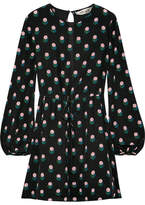 Diane von Furstenberg Printed Silk Crepe De Chine Mini Dress - Black