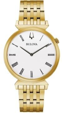Bulova Men's Regatta Gold-Tone Stainless Steel Bracelet Watch 38mm