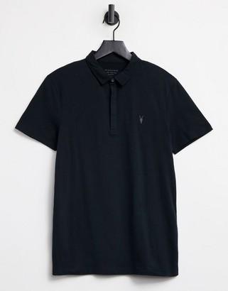 AllSaints Suspender ramskull logo polo shirt in black