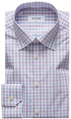 Eton Check Slim-Fit Cotton Dress Shirt