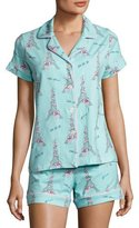 BedHead French Bow Shorty Pajama Set, Light Blue, Plus Size