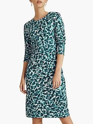 Jigsaw Cascading Petals Ruched Jersey Dress, Seafoam Blue