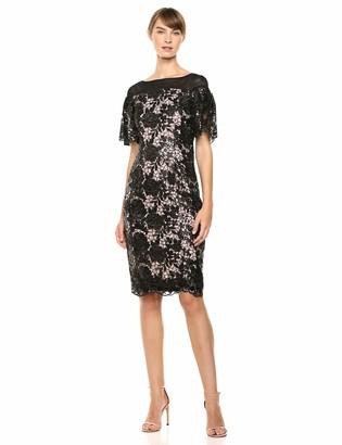 Calvin Klein Women's Short Lace Sheath with Flutter Sleeves Dress