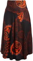 Aller Simplement Black & Orange Geometric Maxi Skirt - Plus Too