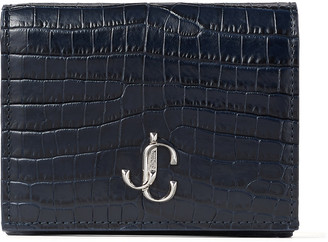Jimmy Choo HANNE Navy Croc-Embossed Leather Wallet with JC Emblem