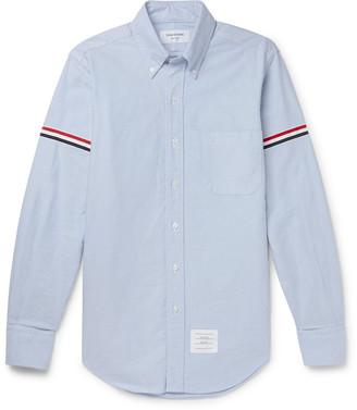 Thom Browne Slim-Fit Button-Down Collar Grosgrain-Trimmed Cotton Oxford Shirt - Men - Blue
