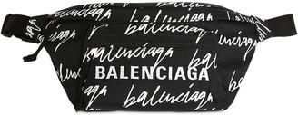 Balenciaga Logo Scribble Print Nylon Belt Bag