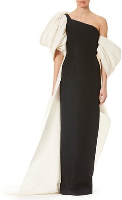 Carolina Herrera Dramatic Bow Silk Column Gown