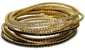 GUESS Gold-Tone 10-Pc. Set Crystal & Black Stretch Bracelets