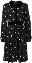 Dolce & Gabbana polka-dot velvet-trim dress