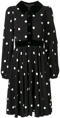 Dolce & Gabbana Polka-Dot Velvet-Trim Dress