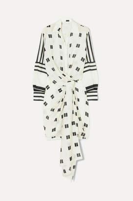 Oscar de la Renta Twist-front Printed Modal And Silk-blend Mini Dress - Ecru