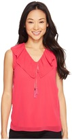 Calvin Klein Sleeveless V-Neck Ruffle Collar Top Women's Sleeveless