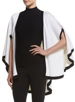 St. John Engineered Nautical Knit Cape, Bianco/Caviar