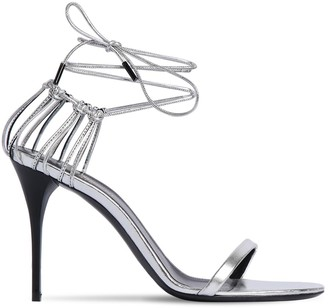 Saint Laurent 90mm Plexi Metallic Leather Sandals