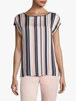 Betty Barclay Short Sleeve Round Neck Striped T-Shirt, Dark Blue-Rose