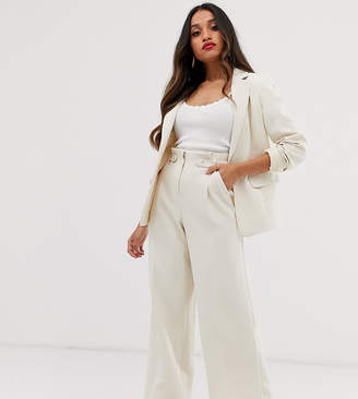 Miss Selfridge Petite high waist trousers in ecru-Cream