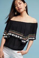 Anthropologie Cornella Embroidered Off-The-Shoulder Top