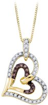 Katarina Cognac and White Diamond Fashion Pendant with Chain in 10K Yellow Gold (1/3 cttw)