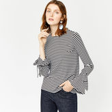 Warehouse Stripe Tie Cuff Top