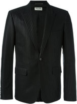 Saint Laurent tonal pinstripe jacket - men - Silk/Cotton/Polyester - 50
