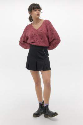 Urban Renewal Vintage Inspired By Vintage Flo Emily Pleated Skirt - black XS at Urban Outfitters