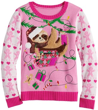 It's Our Time Girls 7-16 Christmas Sloth Sweater