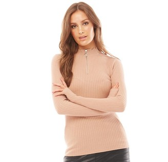Brave Soul Womens Darcey Rib Jumper Dusty Pink