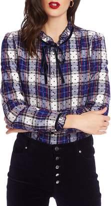 Court & Rowe Tie Ruffle Collar Flocked Dot Plaid Shirt
