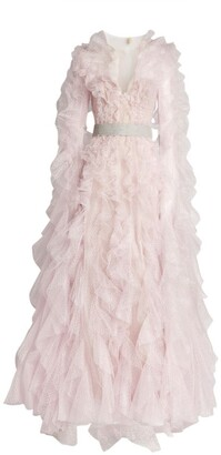 Mikael D Ruffled Tulle Long-Sleeved Gown