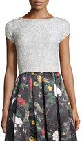 Alice + Olivia Short-Sleeve Embellished Crop Top, Off White