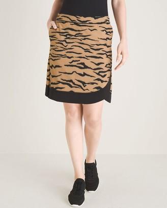 Zenergy UPF Tiger-Print Curved-Hem Skort