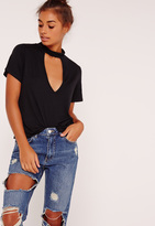 Missguided Choker T Shirt Black