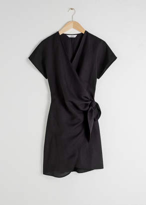And other stories Linen Blend Wrap Mini Dress