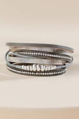 francesca's Ellie Pave Leather Wrap Bracelet - Silver