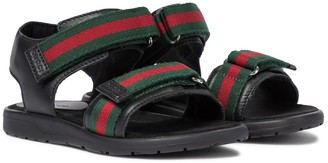 Gucci Kids Web leather sandals