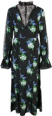 Les Rêveries V Neck Lace Insert Floral Midi Dress