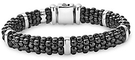 Lagos Black Caviar Ceramic and Sterling Silver Station Bracelet