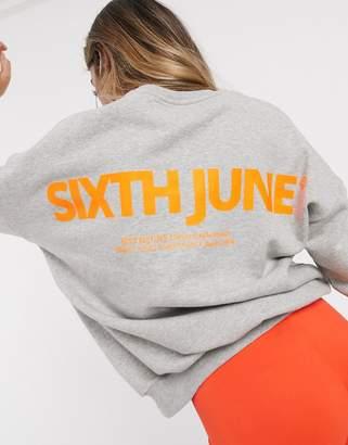 Sixth June oversized sweatshirt with neon logo in marl-Gray