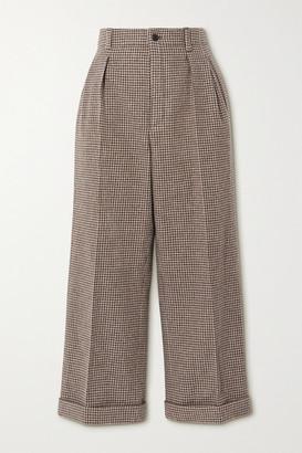 Saint Laurent Cropped Pleated Houndstooth Wool Wide-leg Pants - Brown