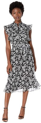 Lauren Ralph Lauren Petite Floral Georgette Dress (Polo Black/Silk White) Women's Dress