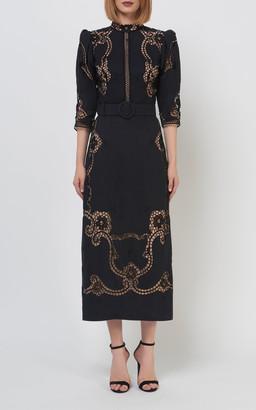 Costarellos Evaine Belted Linen Sheath Dress